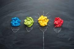 Good idea concept crumpled paper ball lightbulb on blackboard.  stock photos