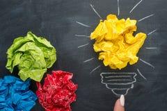 Good idea concept crumpled paper ball lightbulb on blackboard stock image