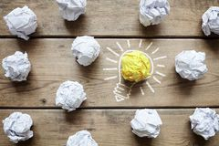 Good idea crumpled paper light bulb metaphor royalty free stock photography