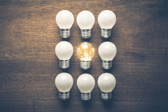 Good Idea. Different light bulb in the group is glowing Stock Photos