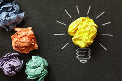 Good idea. Inspiration concept crumpled paper light bulb metaphor for choosing the best idea royalty free stock photography
