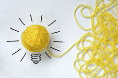 Good idea. Inspiration wool light bulb metaphor for good idea royalty free stock photo