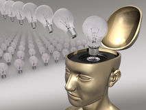 Good Idea (Light Bulb). Concept of good idea. Brainstorm, Brain, Head, Mind, Bright idea, Sudden inspiration, all these words are related with this image Stock Image