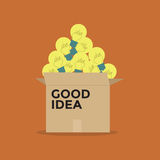 Good idea light bulb in a box Royalty Free Stock Images