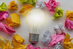 A good idea is like a light bulb that shines Royalty Free Stock Images