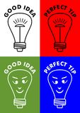 Good idea, perfect tip, four icons with lightbulb, bulb with emoticon face. Vector EPS 10 Royalty Free Stock Photo