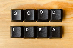 Good idea words. With keyboard buttons stock images