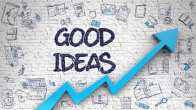 Good Ideas Drawn on White Wall. Stock Images