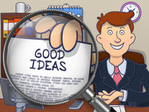 Good Ideas through Magnifying Glass. Doodle Concept. Royalty Free Stock Photography