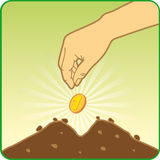 Good investment. When you will invest, you will be gather crops royalty free illustration