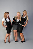 Good job. Three cheerful girls in office Royalty Free Stock Images