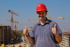 Good Job. Construction engineer is satisfied with the job Royalty Free Stock Photo