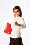 Good job. Young woman congratulating on a job well done Stock Photos