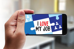 Good Job Assistant I LOVE MY JOB ,  I Love My Job on  Note , Bu Stock Photography