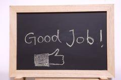 Good job blackboard. Sign. good job written with chalk on black chalkboard with frame stock photography