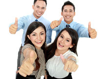 Good job, business people with thumbs up Stock Photos