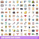 100 good job icons set, cartoon style. 100 good job icons set. Cartoon illustration of 100 good job vector icons isolated on white background Stock Image