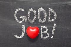 Good Job. ! Phrase handwritten on school blackboard stock photo