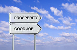 Good job and prosperity. Road sign to good job and prosperity royalty free stock photo