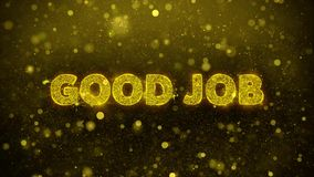 Good Job Text on Golden Glitter Shine Particles Animation.