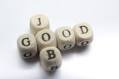 GOOD JOB text on a wooden cubes.  Stock Photography