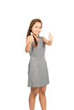 Good Job Two Thumbs Up Complimenting Asian Girl V Royalty Free Stock Image