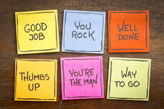 Good job, well done, way to go. Way to go, good job, well done, you`re the man, thumbs up, you rock - a set of colorful sticky notes with positive affirmation royalty free stock photo