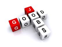 Good Jobs. Three dimensional blocks spell out Good Jobs. Isolated against a white background stock images