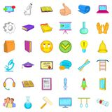 Good learning icons set, cartoon style. Good learning icons set. Cartoon style of 36 good learning vector icons for web isolated on white background Royalty Free Stock Image