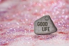 Good life engrave on stone stock photo