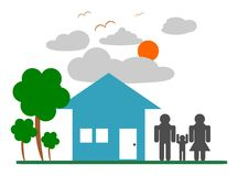 Good Life and Green Environment. Family Concept vector illustration