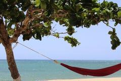 "The good life of the island, Puerto Rico. A hammock in front of ""Pico de piedra"" beach at Aguada, Puerto Rico Royalty Free Stock Photos"