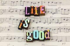 Good life simple enjoy romance love live great letterpress type royalty free stock photos
