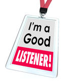 Good Listener Employee Badge Name Tag Customer Service Stock Photos