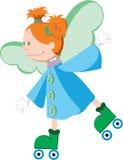 Good little angel riding on roller skates. Good and funny little angel riding on roller skates Stock Photos