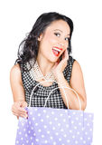 Good looking Asian girl with bag. Shopping sales Royalty Free Stock Photo