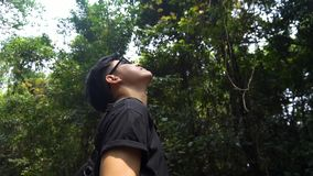 Good looking asian guy standing to refresh himself with forest. Take a picture of it. Good looking asian guy standing to refresh himself with forest. Feel stock footage