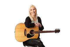 Good looking blonde singer songwriter Stock Photography