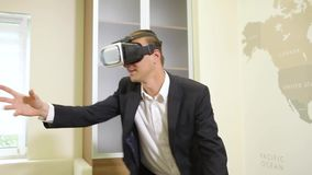 Business Man Using VR Glasses stock footage