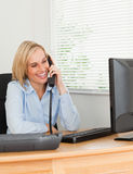 Good looking businesswoman on phone Stock Image
