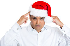 Good looking christmas man in trouble and tension Royalty Free Stock Photo