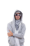 good looking cool gangster in sweatshirt with hood wearing sunglasses stock images