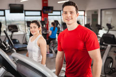 Good looking couple exercising at the gym Stock Photography