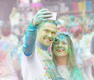 Good looking couple taking a selfie Royalty Free Stock Photography