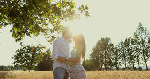 Good looking couple walking and kissing across a wheat field. Couple in love at sunset in a middle of nature kissing and walking hand to hand / steady-cam stock video footage