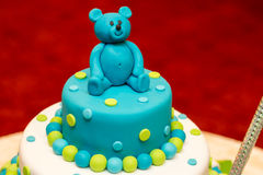 Child cake. Good looking, delicious and beautiful child cake with a bear in a top Stock Photo