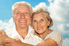 Good-looking elderly couple went for a walk Stock Image