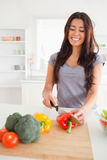 Good looking female cooking vegetables Royalty Free Stock Photos