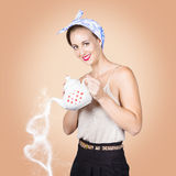 Good looking female pouring hot coffee love Stock Photography
