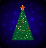 Good-looking festive fir-tree on a blue background Royalty Free Stock Photos